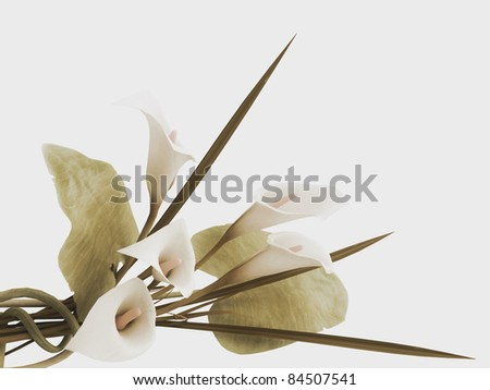 3d callas arrangement in vintage stile - stock photo
