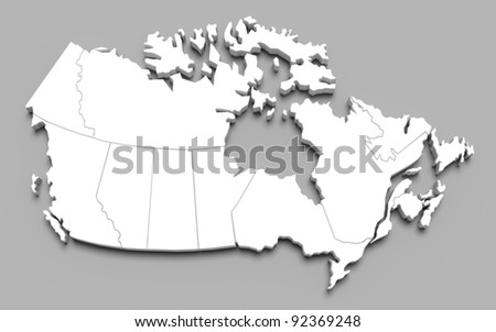 3d canada map on gray isolated