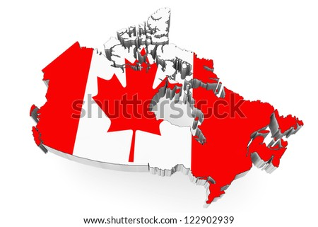 3d Canada map with flag on a white background - stock photo