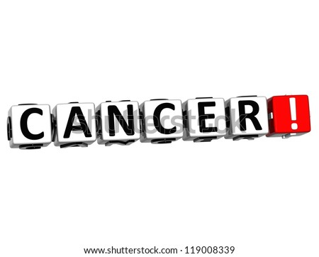 3D Cancer Button Click Here Block Text over white background - stock photo