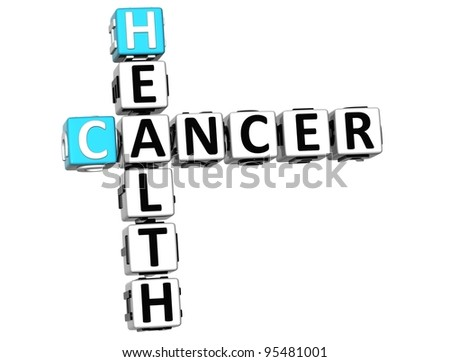 3D Cancer Health Crossword over white background