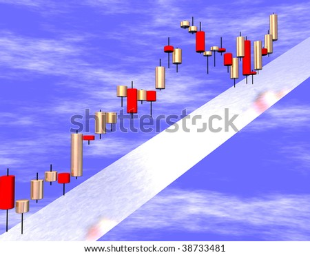 3d candlestick chart in red and golden colors and for a blue sky. - stock photo