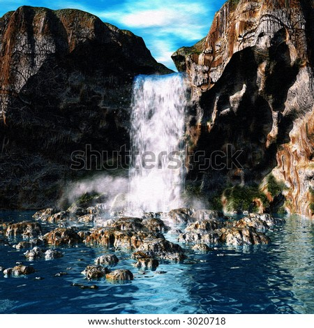 3D canvas textured waterfall - stock photo