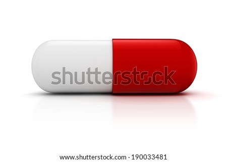 3d capsule pill  on white background - stock photo