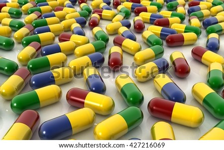 3d capsule pills on white background - stock photo