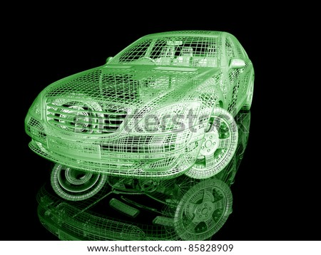 3D Car model on black background with reflection - stock photo