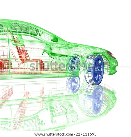 3D Car model on white background with reflection