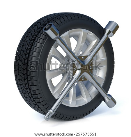 3d car service, tires replacement concept isolated on white background - stock photo