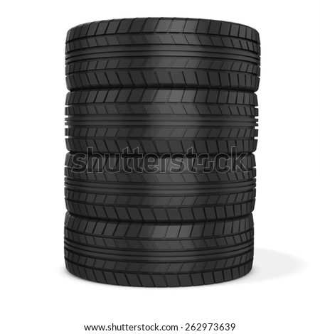 3d car wheels stack on white background - stock photo
