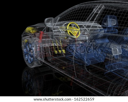 3d car wire model - stock photo