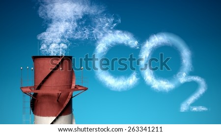 3D. Carbon Dioxide, Carbon, Fumes. - stock photo