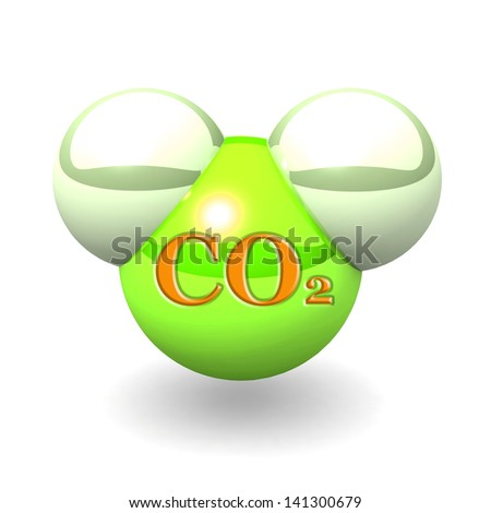 3D carbon dioxide molecule isolated on white background. - stock photo