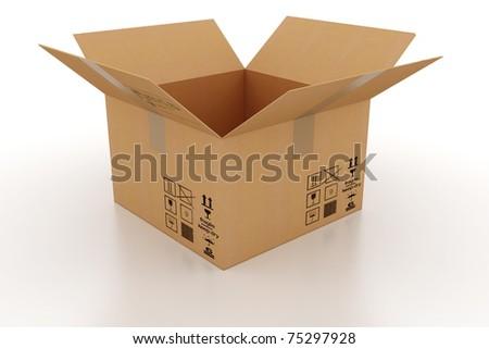 3d cardboard box - stock photo