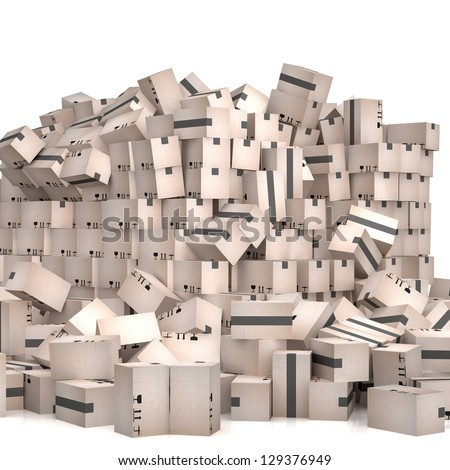 3D cardboard boxes - stock photo