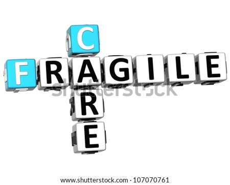 3D Care Fragile Crossword on white background