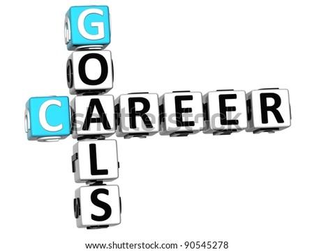 3D Career Goals Crossword on white backgound - stock photo