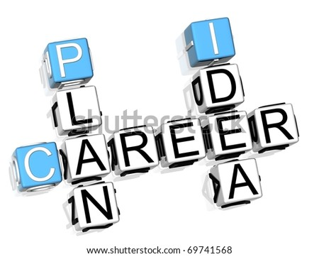 3D Career Plan Idea Crossword - stock photo