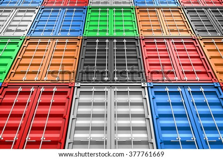 3D cargo containers - great for topics like freight transportation, merchandises, goods, import/export etc. - stock photo