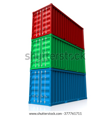 3D cargo containers - great for topics like freight transportation, port, warehouse, merchandises, goods, import/export etc. - stock photo