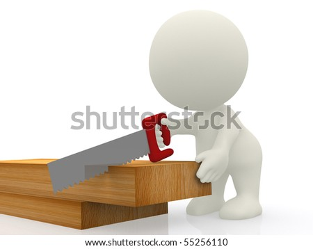 3D carpenter cutting wood with a handsaw - isolated over white