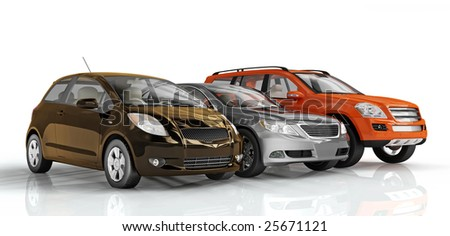 3D cars isolated on white background. Excellent material for web banners - stock photo