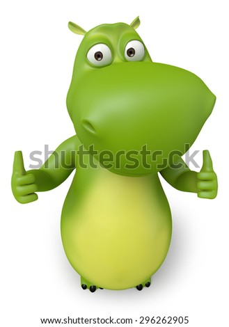 3d cartoon animal showing thumb up. 3d image. Isolated white background - stock photo