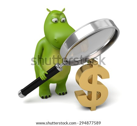 3d cartoon animal with a magnifier and a dollar sign. 3d image. Isolated white background