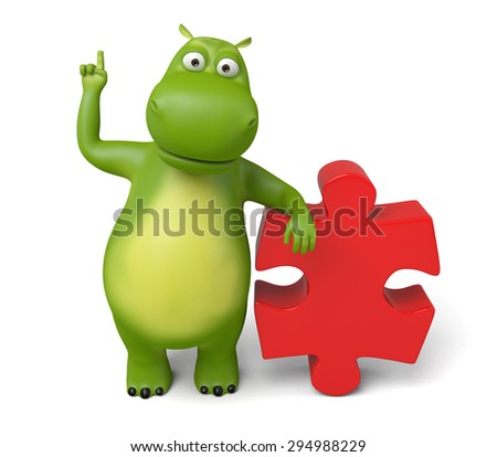 3d cartoon animal with a puzzle. 3d image. Isolated white background