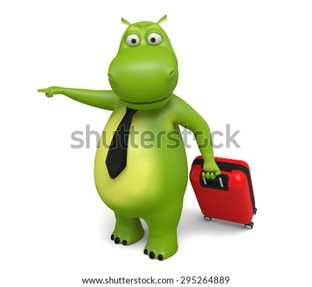 3d cartoon animal with a trolley suitcase. 3d image. Isolated white background.