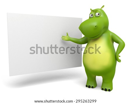3d cartoon animal with blank board. 3d image. Isolated white background