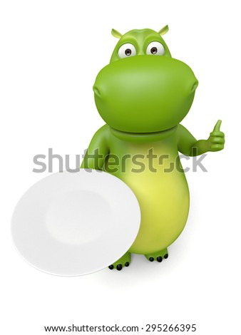 3d cartoon animal with food platter. 3d image. Isolated white background.