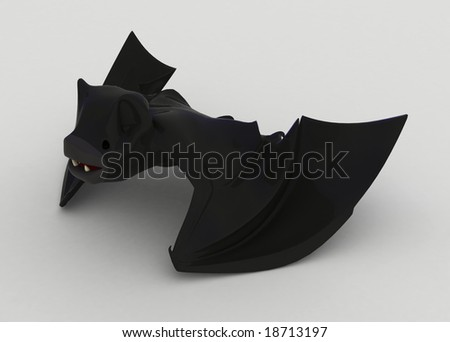 3d cartoon bat on a surface, isolated