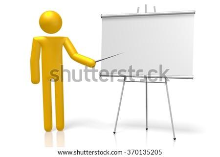 3D cartoon character and blank presentation board. - stock photo