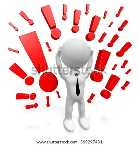 3D cartoon character and exclamation marks - great for topics like surprised, advertisement, anger, danger etc. - stock photo