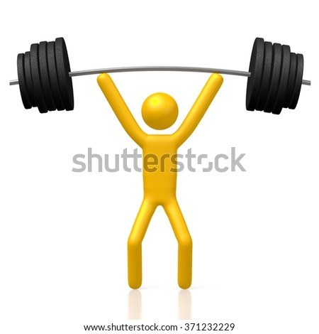 3D cartoon character and weights - great for topics like weightlifting, strength, power etc. - stock photo