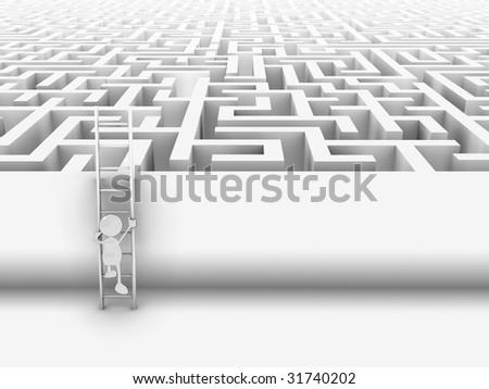 3d cartoon character climbing ladder into maze. - stock photo