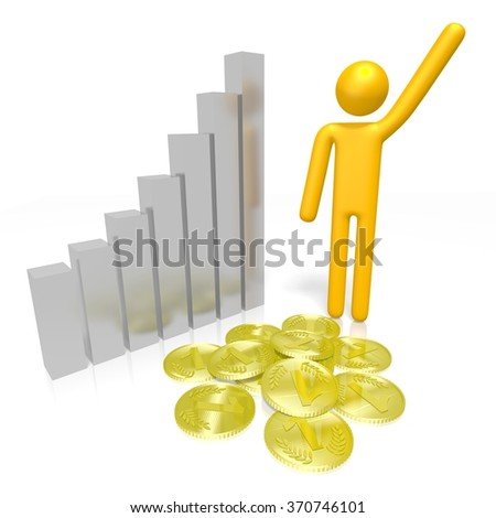 3D cartoon character, golden coins and a diagram - great for topics like success, growth, prosperity etc. - stock photo