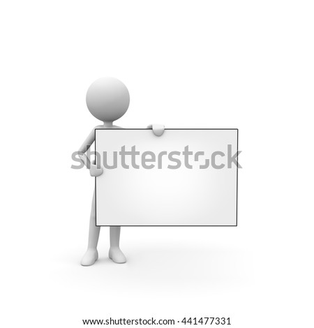 3D Cartoon Character - Little Guy Holding a Horizontal White Board - Black and White Rendering Isolated on White Background.