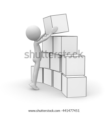 3D Cartoon Character - Little Guy Stacking Boxes - Black and White Rendering Isolated on White Background - stock photo