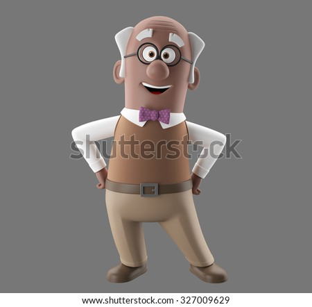 3d cartoon character of happy smiling senior, isolated, no background, merry vital grandfather
