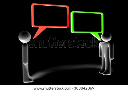 3D cartoon characters and speech bubbles - great for topics like communication, dialog, talking, arguing, conversation, chat etc. - stock photo