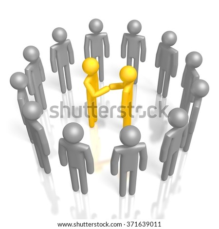 3D cartoon characters - great for topics like contract,  teamwork, agreement. - stock photo