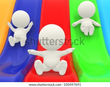 3D cartoon characters on slides having fun - stock photo