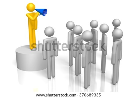 3D cartoon characters, one with a megaphone - great for topics like rally, politics, speech, presentation, community, announcement etc. - stock photo