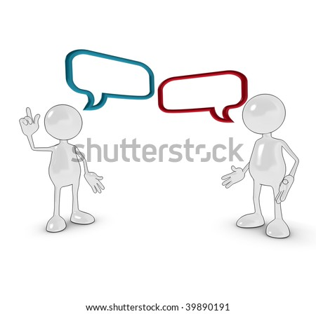 3d cartoon characters with chat bubbles. - stock photo