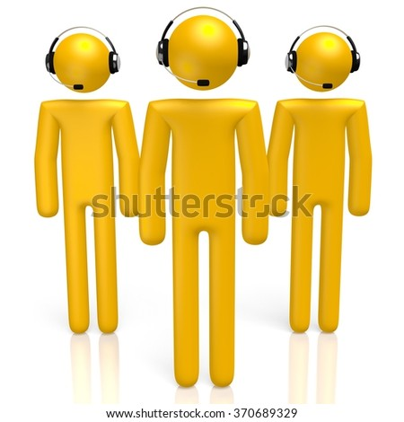 3D cartoon characters with headsets - great for topics like call center, customer support etc. - stock photo