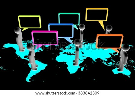 3D cartoon characters, world map and speech bubbles - great for topics like global communication, dialog, talking, social networking, conversation, chat etc. - stock photo