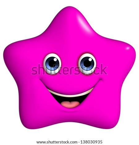 3d cartoon cute pink star - stock photo