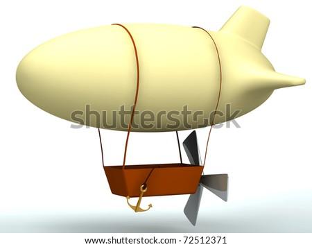3d cartoon dirigible balloon isolated on white - stock photo