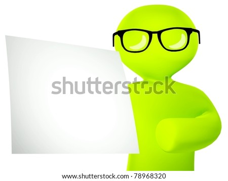 3d cartoon figure showing a blank board, isolated white background - stock photo